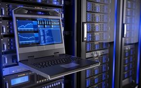 Картинка hi-tech, technology, web hosting, ноутбук, компьютер, обмен, данных, схемы, графики, data center, data storage, огни, ...