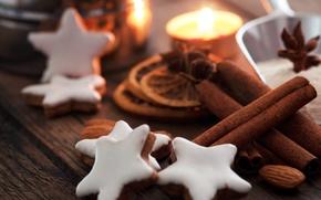 Картинка звезды, фон, праздник, обои, звезда, новый год, еда, рождество, печенье, wallpaper, new year, широкоформатные, background, …