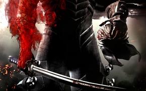 Картинка оружие, красное, кровь, меч, воин, шлем, броня, рубцы