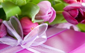 Картинка цветы, праздник, коробка, поздравление, сюрприз, подарок, упаковка, листья, тюльпан, бантик, лента, сиреневый, цветок, фиолетовый, розовый, ...
