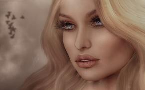 Обои волосы, глаза, лицо, фон, губы, девушка, взгляд