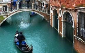 Картинка осень, люди, дождь, улица, здания, дома, Италия, Венеция, канал, зонты, мостик, rain, Italy, bridge, water, …
