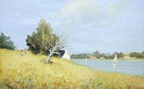 Картинка пейзаж, дом, холмы, лодка, картина, парус, Brittany, Марсель Диф, Tumiac