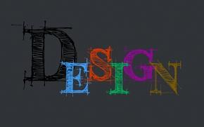 Картинка дизайн, серый, фон, надпись