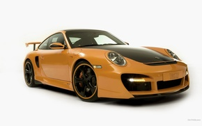 Обои машины, белый фон, порше, желтый, porshe_911-techart426