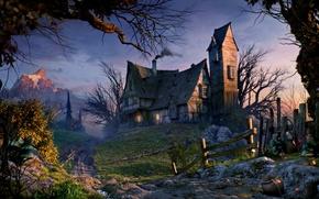 Картинка дорога, деревья, закат, горы, забор, road, trees, sunset, mountains, fence, Old house, Старый дом