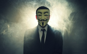 Обои дым, маска, свет, V for Vendetta, костюм