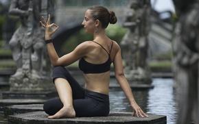 Картинка pose, yoga, water fountain