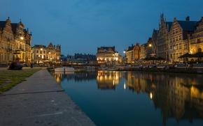 Обои небо, ночь, огни, люди, дома, канал, Бельгия, набережная, Фландрия, Гент