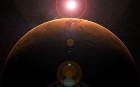 Картинка космос, звезды, поверхность, планета, Марс