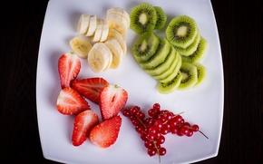 Обои смородина, фруктовый салат, киви, десерт, fruits, тарелка, ягоды, berries, фрукты, fresh, банан, клубника