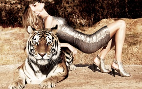 Картинка девушка, тигр, модель, masha novoselova, big cat