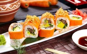 Обои вегетарианские, рис, соус, начинка, васаби, суши, морковь