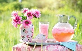Обои лето, трава, природа, стакан, Цветы, букет, ваза, напиток, розовые, пирожное, кувшин, лимонад