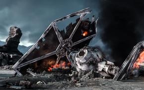Картинка игры, разрушенный, Electronic Arts, DICE, TIE-Fighter, star wars battlefront, Sullust, Салласт