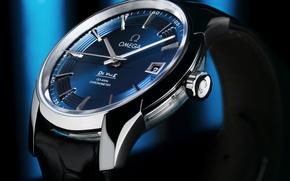 Картинка часы, Omega, blue, Watch, de ville hour vision
