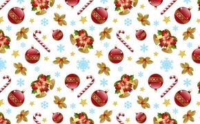Картинка шарики, снежинки, фон, праздник, рисунок, новый год, звёзды, украшение, текстуры, колокольчики