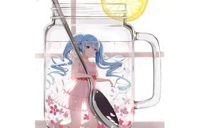 Картинка вода, улыбка, лимон, ложка, кружка, белый фон, цветочки, Hatsune Miku, Vocaloid, длинные волосы