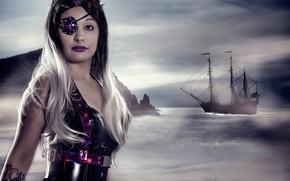 Картинка море, девушка, корабль, парусник, пират, повязка, Cosplay