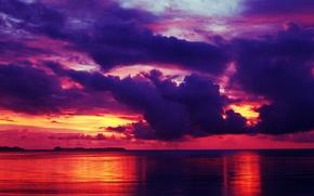 Картинка тучи, отражение, зарево, море, небо, горизонт, облака, закат