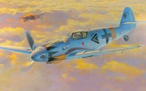 Картинка рисунок, арт, Messerschmitt, Ме-109, люфтваффе, Bf.109, одномоторный поршневой истребитель-низкоплан