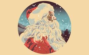 Картинка Xmas, Новый Год, борода, Merry, шапка, New Year, Christmas, рисунок, Рождество, Дед Мороз