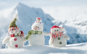 Картинка зима, новый год, снеговики, весёлые, White snowmans