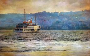 Картинка стиль, река, фон, корабль