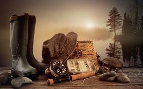 Обои удочка, сапоги, пейзаж, рыбалка, панама, камни