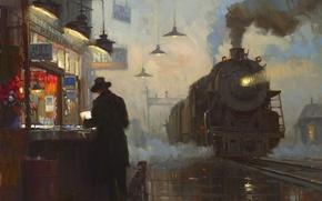 Обои картина, станция, масло, паровоз