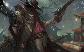 Картинка япония, шляпа, арт, плащ, убийца, стрелок, револьверы