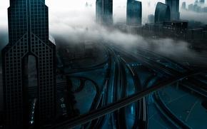 Картинка город, огни, туман, утро, Дубай, ОАЭ, вчер