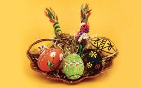 Картинка яйца, Пасха, корзинка, писанка