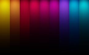 Обои красный, абстракция, полосы, линии, зелёный lines, цвета, жёлтый, colors, синий