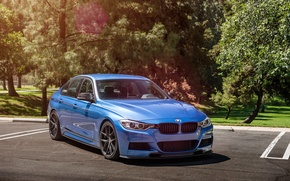 Картинка BMW, wheels, Vorsteiner, blue, 328i, f30, frontside