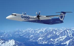 Картинка new aircraft, пассажирский, crj Q400 next gen, bombardier, горы, самолет, реактивный, небо, лопасти
