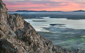 Картинка закат, природа, озеро, холмы, Гора