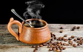 Картинка стол, дерево, кофе, зерна, пар, ложка, чашка, черный фон