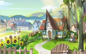 Картинка подсолнухи, уют, холмы, дороги, домики, городок