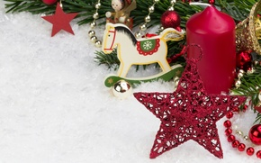 Обои merry christmas, new year, toy horse, decoration, snow, red balls