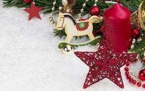 Картинка звезды, снег, украшения, куклы, new year, snow, stars, Merry Christmas, decoration, красные шары, Новым годом, …
