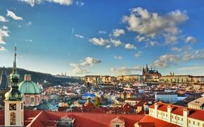 Картинка собор Святого Вита, дома, небо, Прага, Чехия