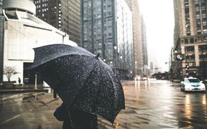 Обои снег, город, зонт