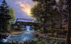 Картинка river, trees, bridge, sunset, cat, boy, train, painting, Jesse Barnes, Cherished Companions