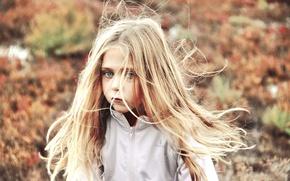Картинка взгляд, ветер, девочка, ребёнок