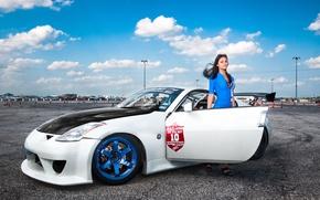 Картинка девушка, Машина, Тюнинг, Ниссан, Nissan, 350z, Tuning, в синем