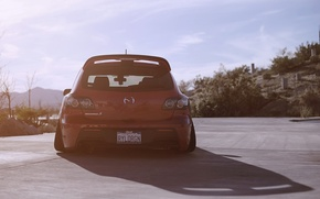 Картинка Солнце, Авто, Мазда, Red, Mazda 3, Stance