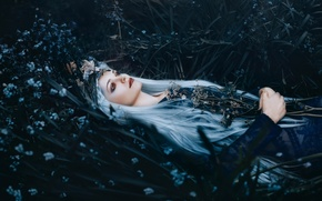 Картинка трава, девушка, цветы, макияж, Bella Kotak, A river flows in you