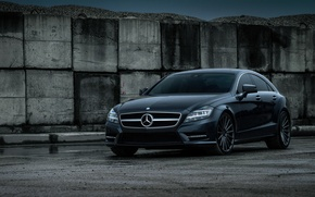 Обои Mercedes-Benz, black, car, CLS550