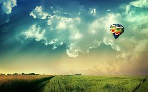 Обои солнце, небо, шар, поле